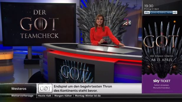 "Am Freitaabend wurde aus Sky Sport News ""Sky Game of Thrones News"""