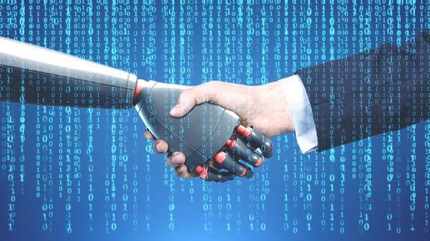 Künstliche Intellligenz Roboter Mensch Handschlag