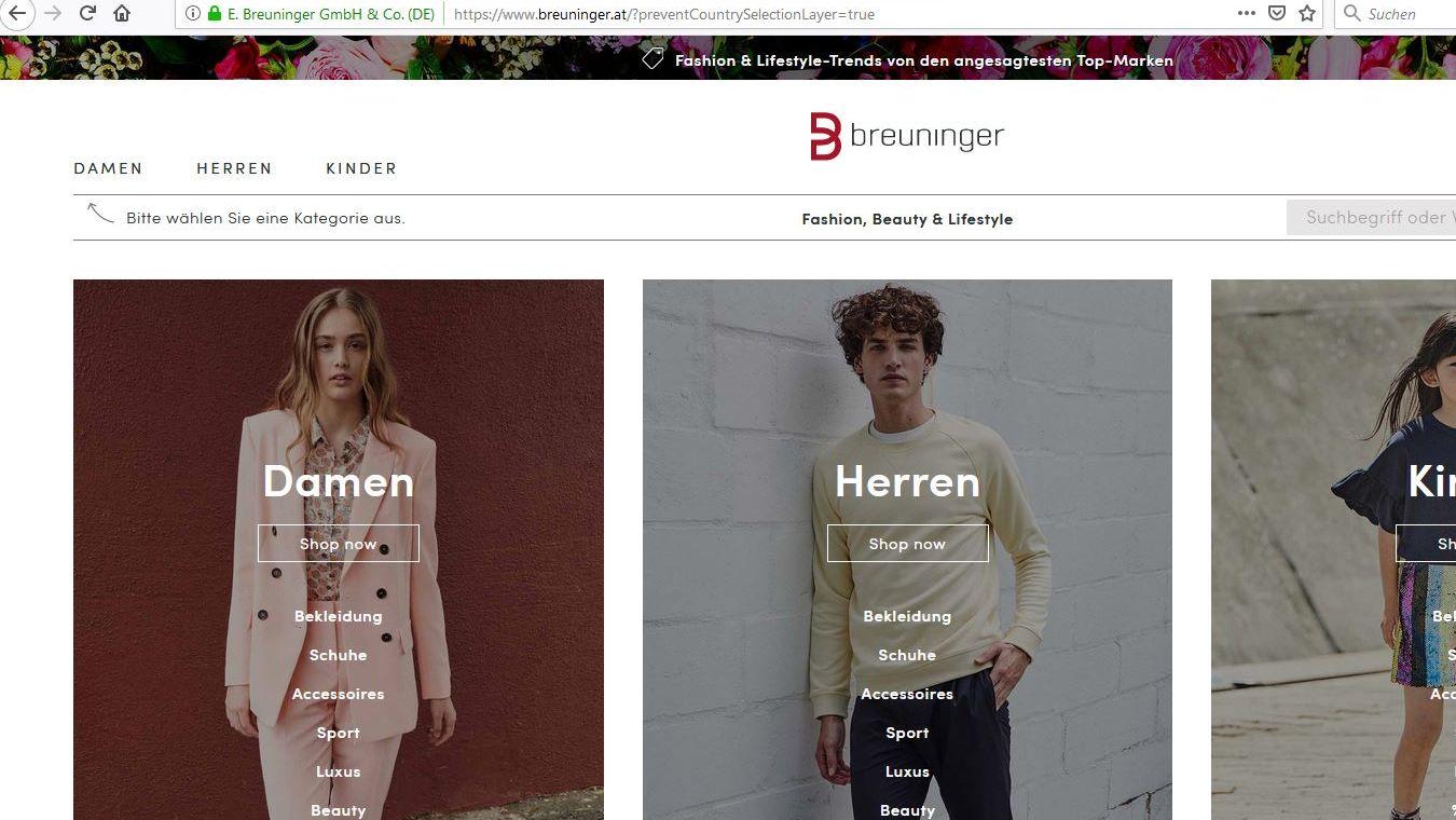 e commerce offensive breuninger er ffnet online shop f r. Black Bedroom Furniture Sets. Home Design Ideas