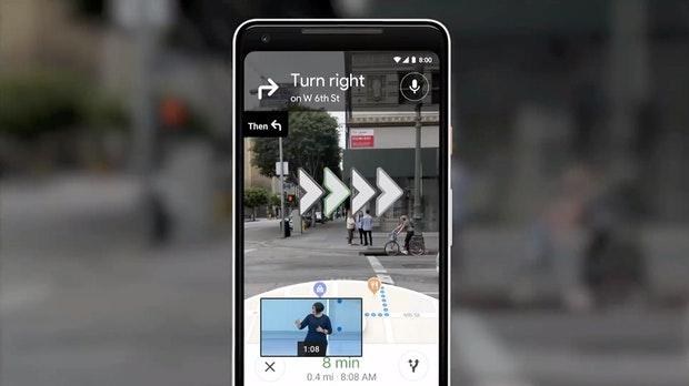 Google Maps mit AR-Navigation.