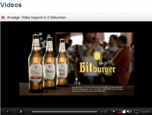 Bitburger-Werbung im Video-Channel von Kicker.de