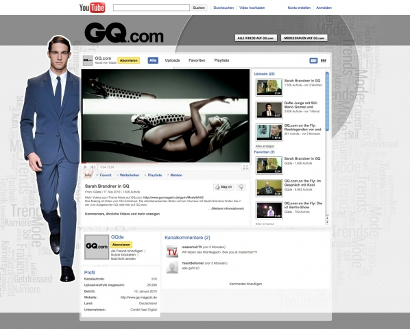 Der Youtube-Channel von GQ.com