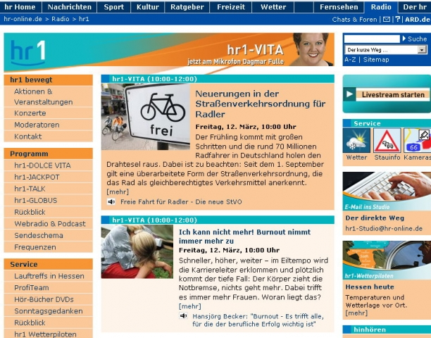 Die Website der Radiowelle HR1.de