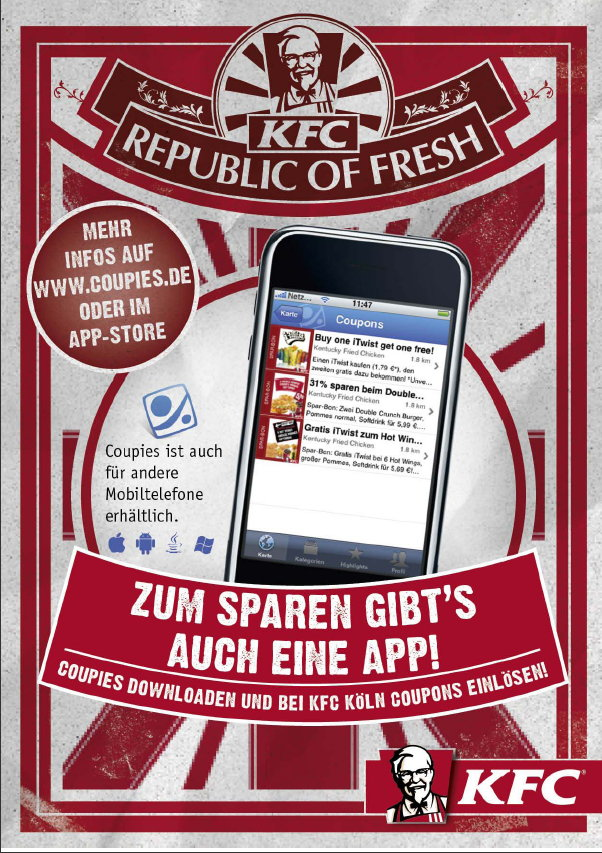 Plakat für mobile Coupons von Kentucky Fried Chicken