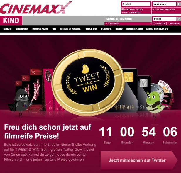 Screenshot der Cinemaxx-Microsite