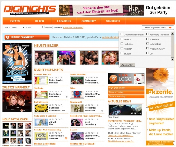 Screenshot der Event-Community Diginights.com