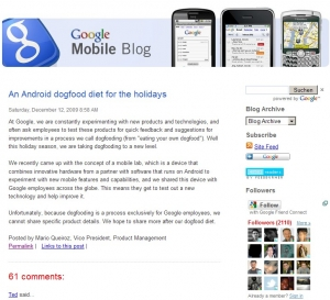 Screenshot des Google Mobile Blog