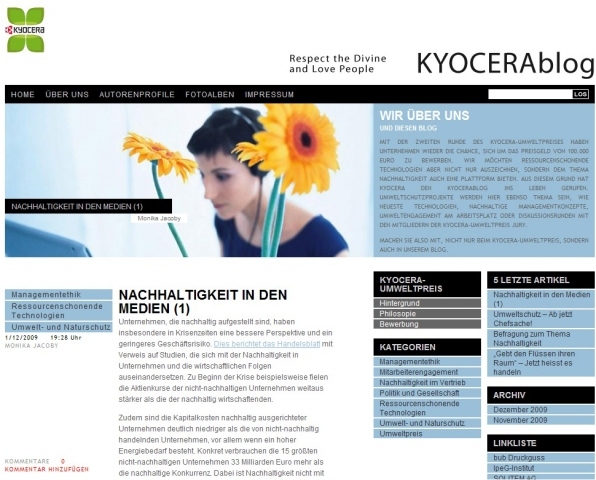 Screenshot des Kyocera-Blogs