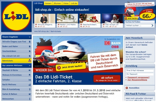 Screenshot des Lidl-Online-Shops