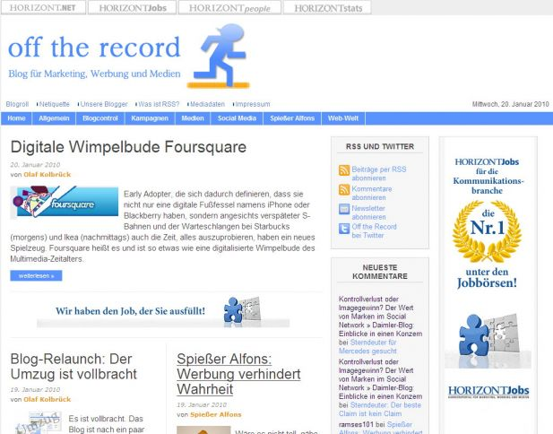 Screenshot des neuen Off-the-record