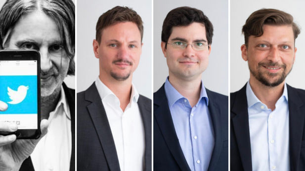 Vortragende Referenten, von links: Frank Bodin (Twitter Ambassador), Gerhard Paleczny, Mario Billiani, Andreas Laszlo (alle Httpool, Twitter Global Growth Partner)