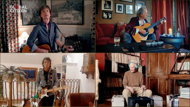 "Mick Jagger (oben, l), Keith Richards (oben, r), Ronnie Wood (unten, l) und Charlie Watts von der Band The Rolling Stones bei ihrem Auftritt im Rahmen des virtuellen Konzerts ""One World: Together at Home""."