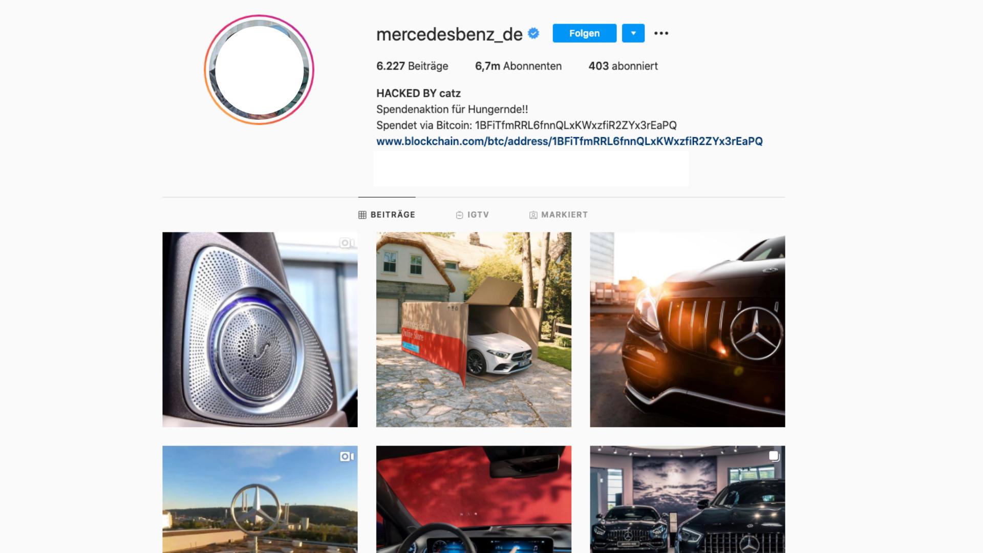 Mercedes Benz Instagram Account Gehackt