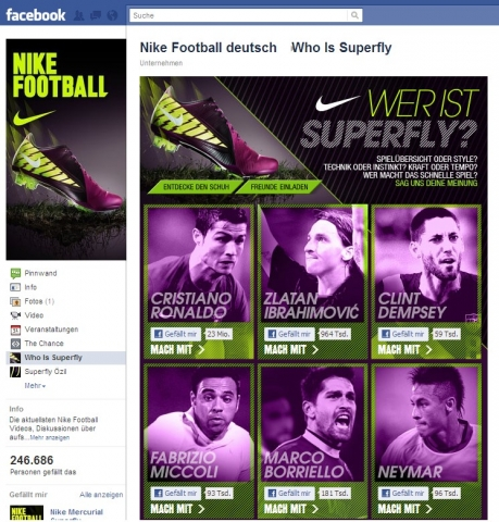 "Der ""Who Is Superfly""-Facebookauftritt von Nike Football"