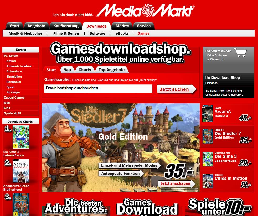 online shop media markt bietet computerspiele zum download an. Black Bedroom Furniture Sets. Home Design Ideas