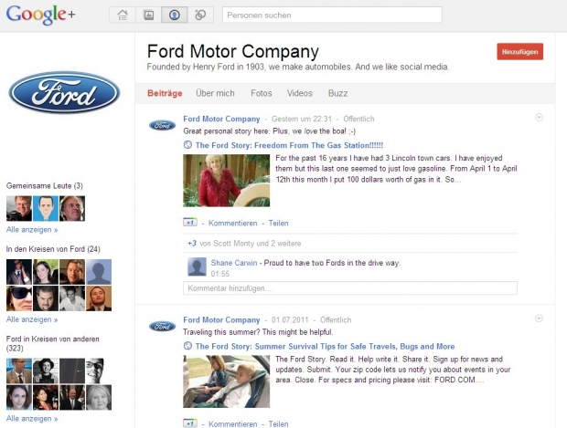 Turbostart: Ford bei Google+