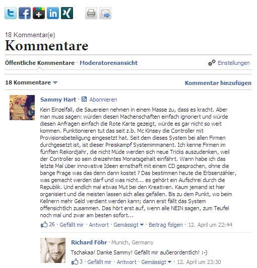 Facebook Kommentarfunktion Gesperrt