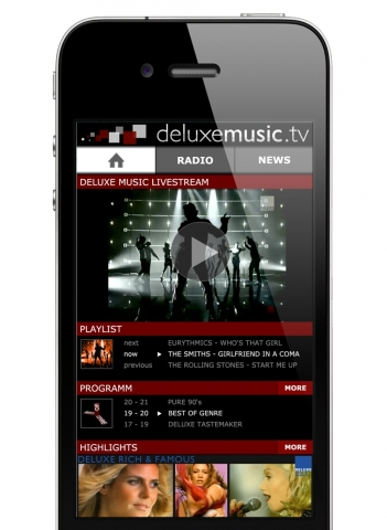 Die mobile Website von Deluxe Music