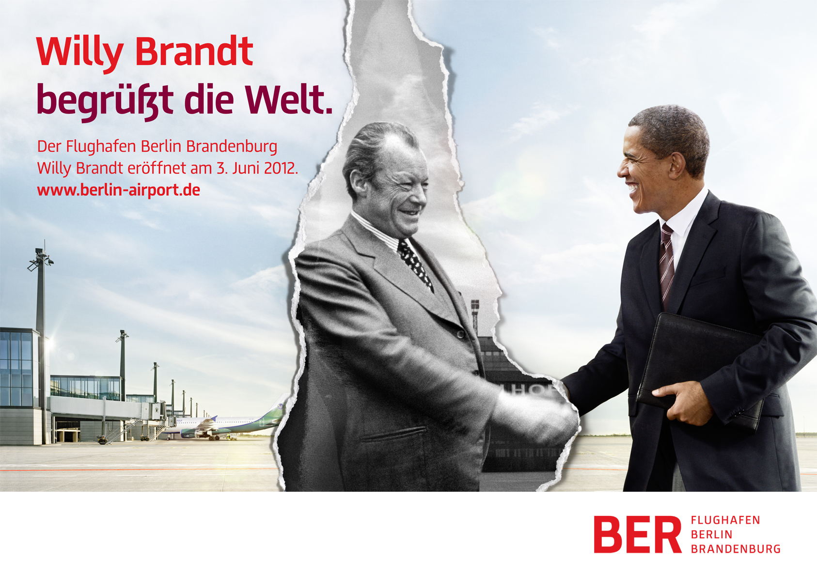 Willy Brandt begrüßt Barack Obama