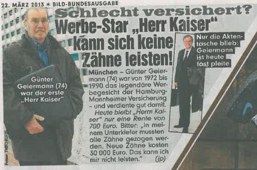 Trauriges Schicksal Werbelegende Herr Kaiser Offenbar Schlecht