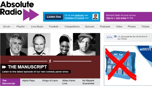Die Website von Absolute Radio (Bild: Screenshot absoluteradio.co.uk)