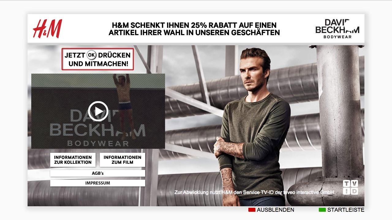 smart tv h m bringt sein teleshopping mit david beckham jetzt auch auf deutsche bildschirme. Black Bedroom Furniture Sets. Home Design Ideas