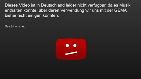 Der neue Gema-Sperrhinweis bei Youtube (Bild: Screenshot Youtube.com)