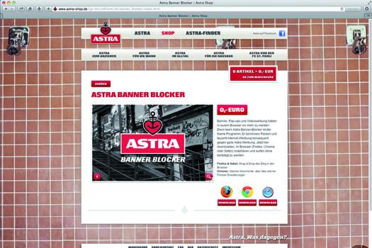 astra banner blocker kult biermarke nimmt das internet f r sich ein. Black Bedroom Furniture Sets. Home Design Ideas