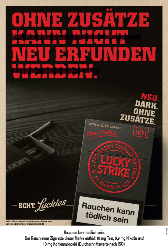 nach logo relaunch bat trommelt f r neue lucky strike. Black Bedroom Furniture Sets. Home Design Ideas