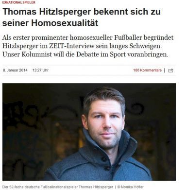 "In der ""Zeit"" hat Thomas Hitzlsperger sein Coming-Out (Bild: Screenshot zeit.de)"