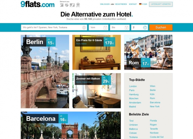 Screenshot der 9Flats.com-Website