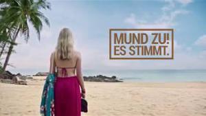 """Kampagne: Ab-in-den-Urlaub.de TV-Spot Strand-Version """"Mund zu! Es stimmt."""""""